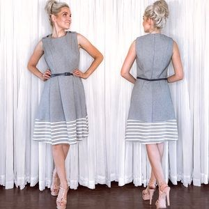Shelby and Palmer Grey Stipe Fit Flair Sundress